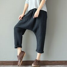 Ladies Men Harem Trousers Linen Baggy Loose Casual Dropped Crotch Cropped Pants