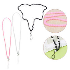 Long  Faux Pearl Rhinestone Lanyard Necklace Cell Phone Keychain ID Badge Holder