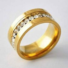 Fashion Jewelry Women Clear Zircon Yellow Gold Filled Love Wedding Ring Size 6-9