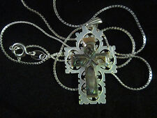 Handmade Mother of Pearl Colourful Cross 3cm Sterling Silver Bethlehem Palestine