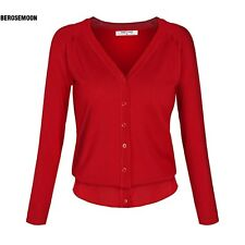 Angvns Stylish Ladies Women Casual Long Sleeve V Neck Solid Button B0N01