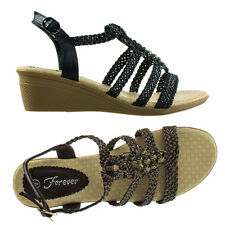 Paramount08 Espadrille Woven Open Toe Wedge Sandal w Beaded Gladiator Cage Strap