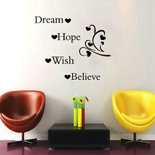 Dream Hope Wish Believe Inspirational Quotes Wall Decals Home Wall Art Sticker
