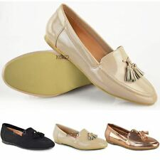 Womens Ladies Flat Casual Office Tassel Loafers Pumps Slip On School Shoes Size