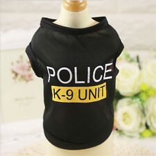 New Fashion Dog Pet Clothes Black Police K-9 Unit Dog T-Shirts Apparel XS S M L