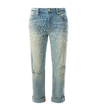 NWT JUICY COUTURE Black Label Distressed Blue Embellished Boyfriend Jeans $348
