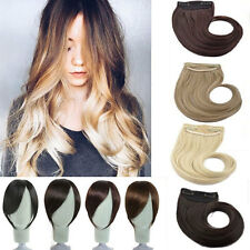 Long Side New women lady clip in on fake fringe bangs hair extensions Real Hot