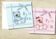 1-10 PERSONALISED BABY BEAR BABY THANK YOU,ANNOUNCEMENT, CONGRATULATIONS CARDS