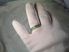 14K YELLOW GOLD EMERALD OR RUBY BAND RING, SIZE 8 (M205-3-15)