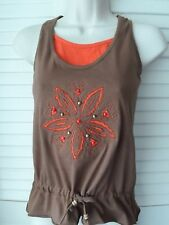 NEW YOUNG GIRLS TEENAGE BROWN ORANGE INSERT 100% COTTON STRAPPY TOP