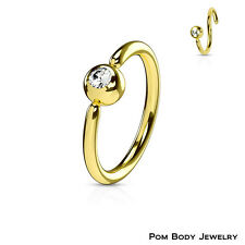 "20G 18G 16G Gold IP ""Fixed Gem Ball"" Captive Bead Ring Earring Septum Nose Ring"