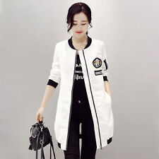 Women's Korean Style Hand Made Embroidery Pattern Casual Round Neck Wind Coat