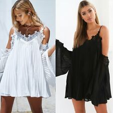 Women Lady Fashion Strappy Pleated Chiffon Flare Sleeve Party Short Mini Dress