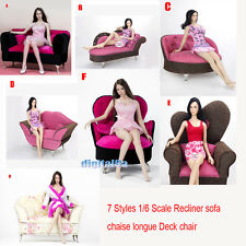 Furniture Sofa Longue Couch Settee 1/6 Scale sofa chaise Deck chair/Recliner