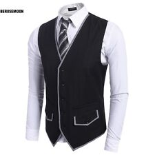 Men Slim Fit Single-Breasted Button Down Patchwork Business Vest Waistcoat B0N01
