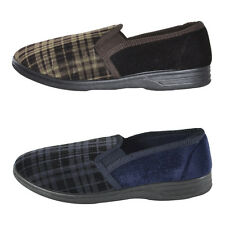 Mens Checked Pattern Slip On Slippers Full Shoe Rubber Grip Sole Navy/Brown