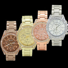 WOMEN'S GENEVA BLING CRYSTAL STAINLESS STEEL ANALOG QUARTZ WRIST WATCH USEFUL