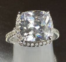 Created Diamond Engagement Ring 925 Real Sterling Silver LOOKS LIKE REAL THING