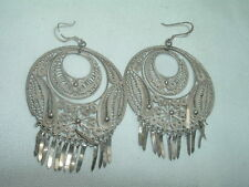 Vintage Taxco Mexico Sterling Silver Filigree Large Pierced Earrings in Gift Box