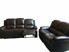2 Sofas - Valencia 2 Seater & 3 Seater Leather Recliner Sofas - Black or Brown
