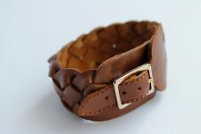 Leather Cuff Bracelet Men Brown Wide Hand Cover Wrist Band