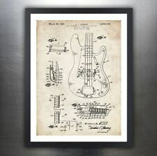 FENDER PRECISION BASS GUITAR 1961 PATENT PRINT POSTER VINTAGE ELECTRIC P PBASS