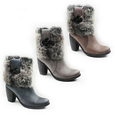 WOMENS LADIES WARM FUR LINED MID HIGH CUBAN HEEL ANKLE BOOTS SHOES SIZE 3-8