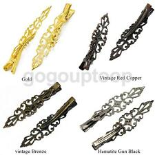 6pcs Women Crocodile Alligator Hair Clips Bows Slides Findings Crafts Barrettes