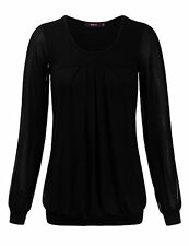 Doublju Womens Long Chiffon Sleeve Pleated Front Blouse Top BLACK M