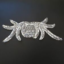 Silver Sequin Beaded Neckline Patch New Year Dance Dress Hair Applique