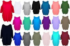 New ladies batwing womens cut out cold shoulder long shirt top tunic dress 8-26