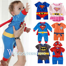 Baby Boys Girls Infants Superman Costumes Cosplay Jumpsuit Rompers Outfits 0-2Y