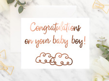 Copper Foil Baby Boy Card / Congratulations on your baby cloud cute gift card