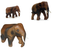 THAI HAND CARVED WOODEN ELEPHANT  MINI, SMALL & MEDIUM ELEPHANTS TO CHOOSE FROM
