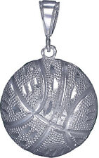 Sterling Silver Basketball Ball Charm Pendant Necklace with Diamond Cut Finish
