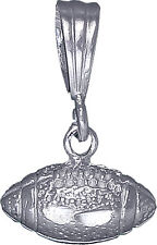 Sterling Silver Football Ball Charm Pendant Necklace with Diamond Cut Finish