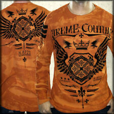 Xtreme Couture Magnet Winged Cross Emblem Mens Long Sleeve Thermal Orange S-2XL