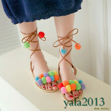 Womens Multi-colored Strappy Roman Gladiator Sandals Flat Heel Summer Party Shoe