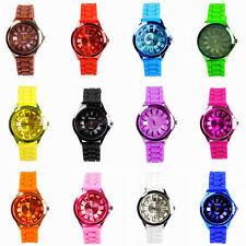 Women Ladies Girls Jelly Candy Color Quartz Unisex Silicone Band Wrist Watch