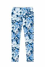 Memory Book Lucy Blue Floral Print Stretch Leggings - Women