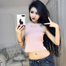 Women's Korean Style Sexy Acrylic Fashion Knitted Halter Mini Short Vest Top