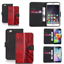faux leather wallet case for many Mobile phones - red palm leaf