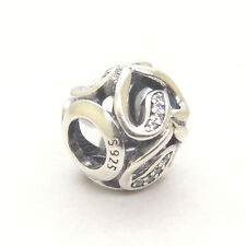 Genuine S925 Sterling Silver Ribbons of Love Charm Bead
