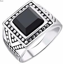New Men's Silver Plated Class Signet Ring - Black Gemstone- Big Ring- Size 7-10