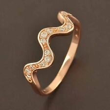 Delicate Girls 9K Rose Gold Filled Flawles Top Cubic Zirconia Wave Ring size 7 8