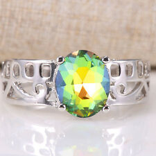 1.3CT Mysterious Rainbow Topaz Women 925 Silver Wedding Cocktail Ring Size 7-9