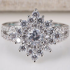 Fashion Jewelry 925 Silver Clear Topaz Women Wedding Cocktail Ring Size 6-10