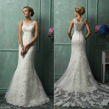 New White or ivory lace Wedding Dress Bridal Gown Size 6+8+10+12+14+16+18