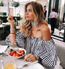Sexy Women's Lady Off Shoulder Fashion Stripe Blouse Tops Loose T shirt Clothes