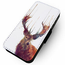 Liquid Stag -Printed Faux Leather Flip Phone Cover Case- Nature Beauty Paint #1